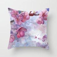"""sakura Throw Pillows featuring """"Sakura"""" by Emma Reznikova"""