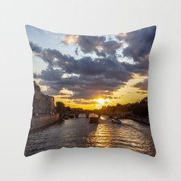 Sunset over Conciergerie - Paris, France Throw Pillow