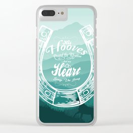 Horse Quote Typography - Horse Hoove Shoe quote - Horse lover Clear iPhone Case