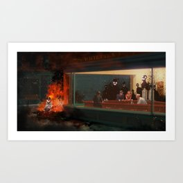 How I met my dog 2 - Nighthawks Art Print