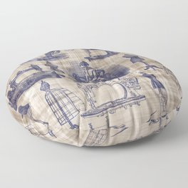 Vintage Sewing Toile Floor Pillow