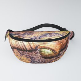 Vintage Wooden Pipe And A Looking Glass On An Old Map Fanny Pack