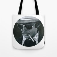 hunter s thompson Tote Bags featuring Hunter S. Thompson on vinyl record print by Eric Popp