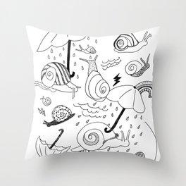 Snails in the Rain Throw Pillow