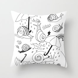 Snails in the Rain Throw Pillow