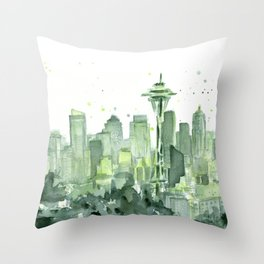 Seattle Watercolor Painting Throw Pillow
