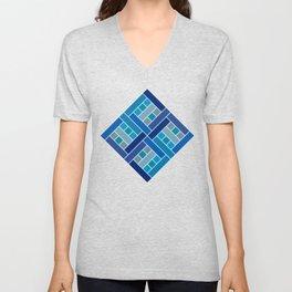 Gaudí cobalt blue square mosaic Unisex V-Neck