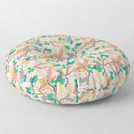 Lemurs in Pink Jungle Floor Pillow