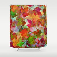 andreas preis Shower Curtains featuring Autumn Leaves by Klara Acel