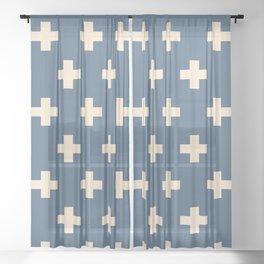 Swiss Cross Blue Sheer Curtain