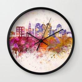 Cuenca EC skyline in watercolor background Wall Clock