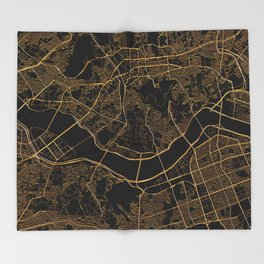 Black and gold Seoul map Throw Blanket