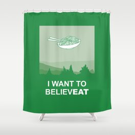 I want to believeat - Pasta Shower Curtain