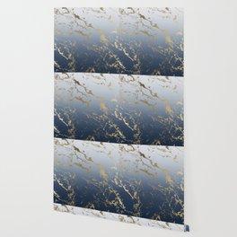 Modern grey navy blue ombre gold marble pattern Wallpaper