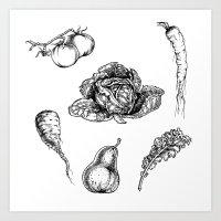 vegetables Art Prints featuring VEGETABLES by Johan Olander