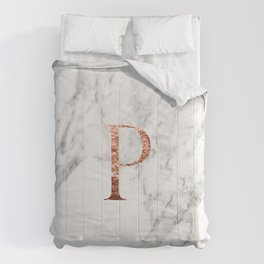 Monogram rose gold marble P Comforters