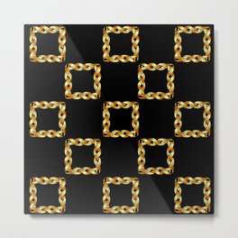 Twisted gold squares Metal Print