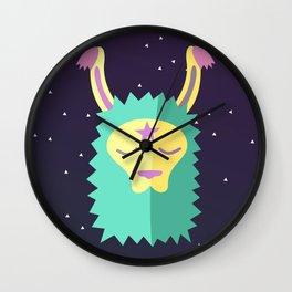 Yacana: The Space Llama Head (Cyan) Wall Clock