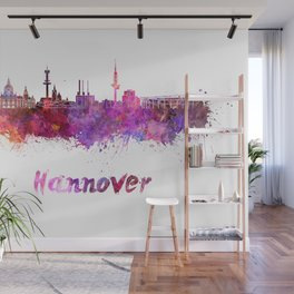 Hannover skyline in watercolor Wall Mural