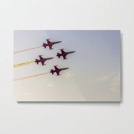 Turkish acrobatic aviation squadron flying over Izmir (Turkey) Metal Print