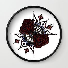 Colorful 2/4 with Roses Wall Clock