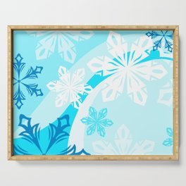 Blue Flower Art Winter Holiday Serving Tray