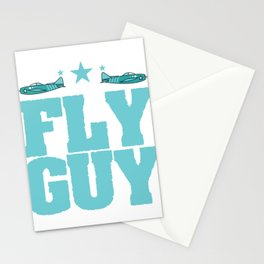 """Fly guy""  tee design perfect for aircraft lovers like you! Makes a nice gift too!  Stationery Cards"