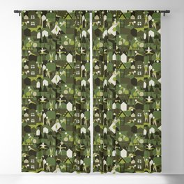 Indoors & outdoors (green camo) Blackout Curtain
