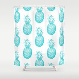 Teal Pineapple Shower Curtain
