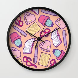 Book Club Pattern in Peach Wall Clock
