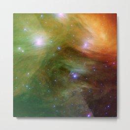 Galaxy : Pleiades Star Cluster neBuLa Green Orange Metal Print