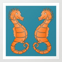seahorse Art Prints featuring Seahorse by mailboxdisco