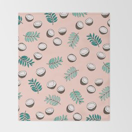 Little coconut garden summer surf palm leaves pink Throw Blanket