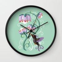 hummingbird Wall Clocks featuring Hummingbird by Freeminds