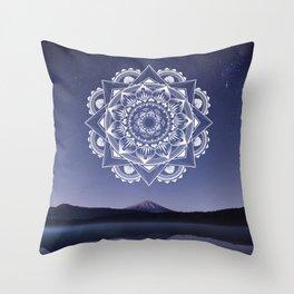 Nightsky Mandala - White on Purple  Throw Pillow