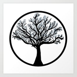 Tree in back and blue Art Print