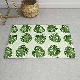 Palm Leaves, Leaf Pattern - Green Rug
