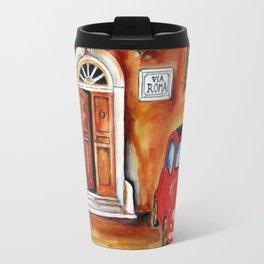 Via Roma Fiat 500 in Trastevere Travel Mug