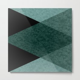 Marble turquoise green triangles Metal Print
