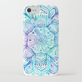 Iridescent Aqua and Purple Watercolor Mandala iPhone Case