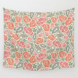Orange poppies and red roses with keys on light background Wall Tapestry