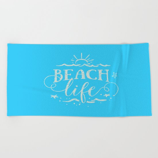 BEACH life - white Typography on Aqua for your summer - Mix & Match Beach Towel