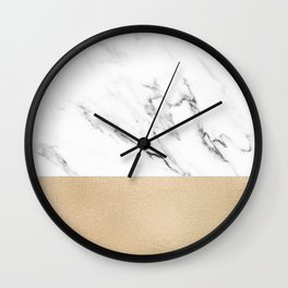 White Marble with Black and Copper Bronze Wall Clock