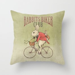 Rabbits Biker Club Throw Pillow