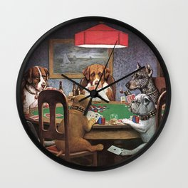 Dogs Playing Poker A Friend in Need Painting Wall Clock