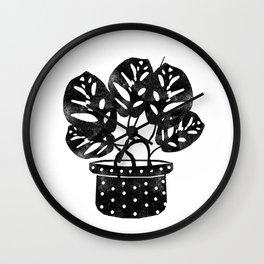 Monstera obliqua linocut black and white potted plant minimal house plants cute zen vibes yoga art Wall Clock