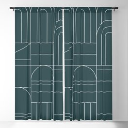 Deco Geometric 04 Teal Blackout Curtain