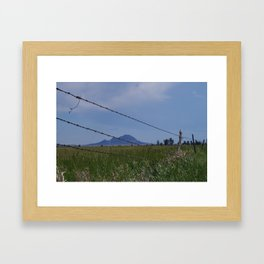 Bear Butte Barbed Wire Framed Art Print