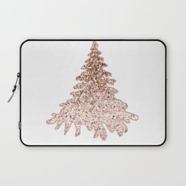 Sparkling christmas tree rose gold ombre Laptop Sleeve