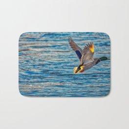 Mallard Duck In Flight Bath Mat
